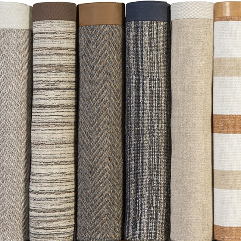 Examples of area rugs with wide bindings, by J. Leigh Carpets.