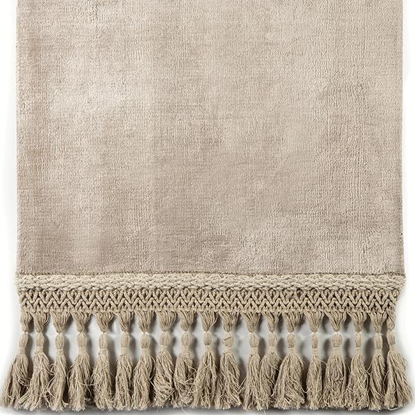 Long linen designer tassel on signature area rug in Jantique Plush by J. Leigh Carpets