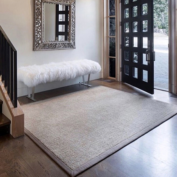 Leather binding facing on Signature Area Rug by J Leigh Carpets
