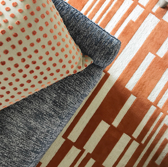 Orange and white geometric contemporary modern custom area rug, Jagra collection by J. Leigh Carpets exclusively to the interior design trade